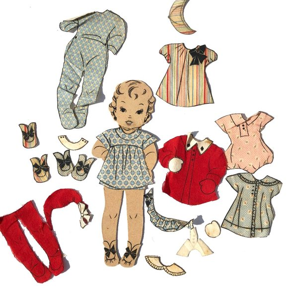 Vintage Other - Vintage Fabric Paper Doll Signed with Clothes